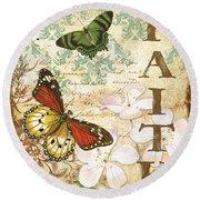 Faith And Butterflies Round Beach Towel