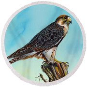 Round Beach Towel featuring the painting Falcon On Stump by Anthony Mwangi