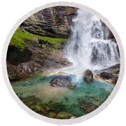 Fall And Rainbow Round Beach Towel by Silvia Ganora