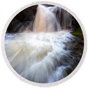 Round Beach Towel featuring the photograph Fall And Splash by David Andersen