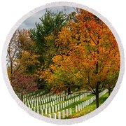 Fall Arlington National Cemetery  Round Beach Towel