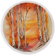 Round Beach Towel featuring the painting Fall Aspen On Paper by Janice Rae Pariza