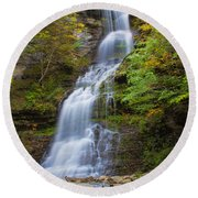 Fall At Cathedral Falls Round Beach Towel