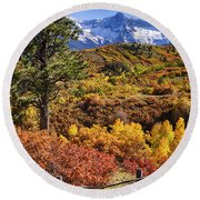 Fall At Dallas Divide Round Beach Towel