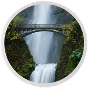 Fall At Multnomah Falls Round Beach Towel by Don Schwartz