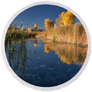 Fall At The Canal Round Beach Towel