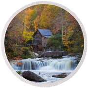 Mill At Babcock State Park Round Beach Towel