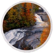 Fall At Triple Falls Round Beach Towel