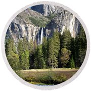 Round Beach Towel featuring the photograph Yosemite National Park-sentinel Rock by David Millenheft