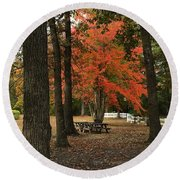 Fall Brings Changes  Round Beach Towel