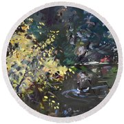 Fall By The Pond Round Beach Towel