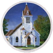 Fall Church Round Beach Towel