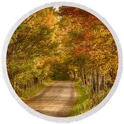 Fall Color Along A Peacham Vermont Backroad Round Beach Towel by Jeff Folger
