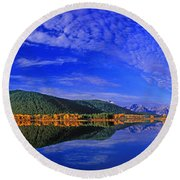 Round Beach Towel featuring the photograph Fall Color Oxbow Bend Grand Tetons National Park Wyoming by Dave Welling