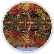 Round Beach Towel featuring the photograph Fall Color Reflected In Thornton Lake Michigan by Dave Welling