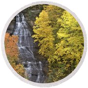 Round Beach Towel featuring the photograph Fall Color Surrounds Chapel Falls On The Michigan Upper Peninsula by Dave Welling