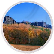 Fall Colors Around The Lilienstein Round Beach Towel