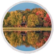 Fall Colors In Cabin Country Round Beach Towel by Paul Freidlund