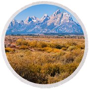 Fall Colors In The Tetons   Round Beach Towel by Lars Lentz