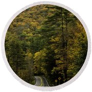 Fall Colors On Mohawk Trail Near Charlemont Round Beach Towel