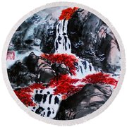 Round Beach Towel featuring the photograph Fall Colors by Yufeng Wang