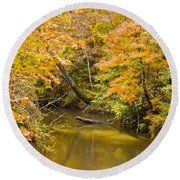 Fall Creek Foliage Round Beach Towel