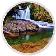 Fall Creek Oregon Round Beach Towel