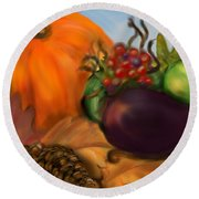 Fall Festival Round Beach Towel