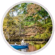 Round Beach Towel featuring the photograph Fishing Reflection by Debbie Green
