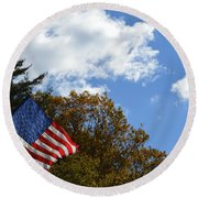 Fall Flag Round Beach Towel