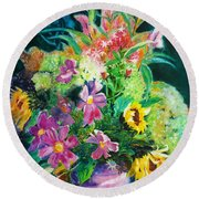 Fall Floral Sweetness Round Beach Towel