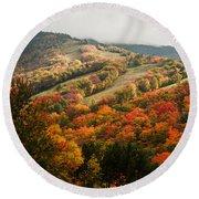 Fall Foliage On Canon Mountain Nh Round Beach Towel