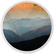 Fall Foliage Ridgelines Great Smoky Mountains Painted  Round Beach Towel