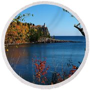 Round Beach Towel featuring the photograph Fall For Split Rock Lighthouse by James Peterson