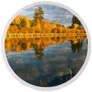 Round Beach Towel featuring the photograph Fall Fractal by Kevin Desrosiers