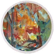 Fall From My Window Round Beach Towel