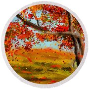 Fall Impressions Round Beach Towel