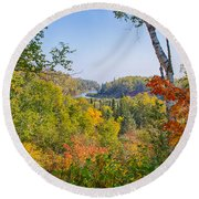 Fall In Gooseberry State Park Round Beach Towel