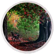 Fall In Henes Park Round Beach Towel
