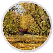 Fall In The Peach Orchard Round Beach Towel