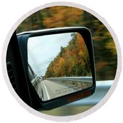 Fall In The Rearview Mirror Round Beach Towel