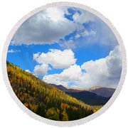 Fall In The Rockies Round Beach Towel
