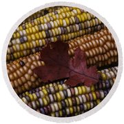 Fall Indian Corn With Leaf Round Beach Towel