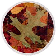 Round Beach Towel featuring the mixed media Fall Leaf Collage by Anna Ruzsan