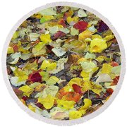 Round Beach Towel featuring the photograph Fall Leaves by Jennifer Muller