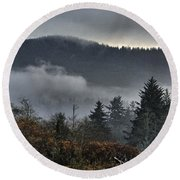 Fall Low Clouds And Fog Round Beach Towel