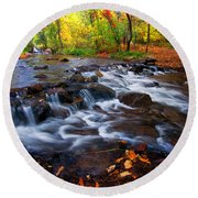 Round Beach Towel featuring the photograph Fall On Fountain Creek by Ronda Kimbrow