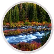 Fall On The Deschutes River Round Beach Towel