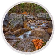 Fall On The Rocks Round Beach Towel