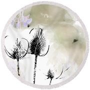 Fall On White II Round Beach Towel